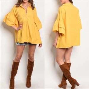 Tops - Yellow Bell Sleeve Top